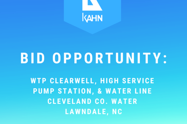 Bid Opportunity – WTP Clearwell, High Service Pump Station, & Water Line, Lawndale, NC