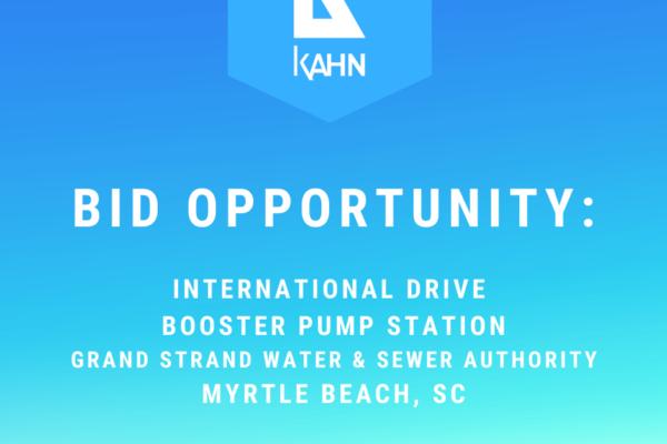Bid Opportunity – International Drive Booster Pump Station, Myrtle Beach, SC