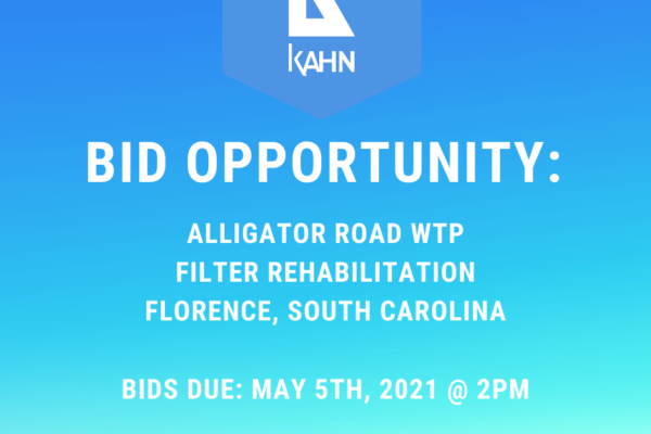 Bid Opportunity for 5/5: Florence, SC Alligator Road WTP Filter Rehab